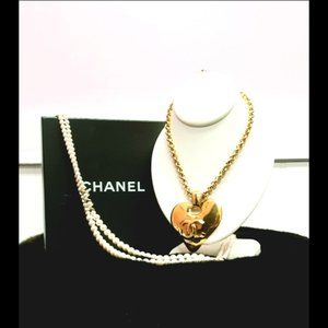 Showstopping Chanel Logo Heart Necklace